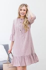 Stella May Midi in Dusty Rose and White Stripe Dress