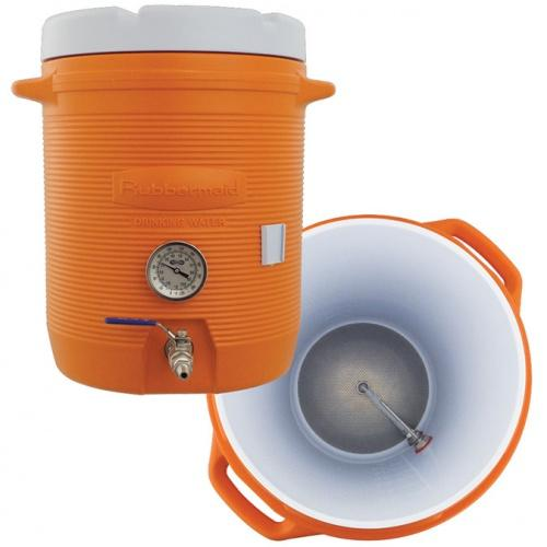 Cooler Mash Tun With Thermometer - 10 Gallon - Brew My Beers