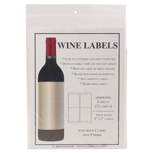 Bottle Labels - Wine - Pack of 32 - Brew My Beers