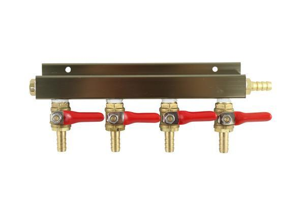 "The Weekend Brewer 4-Way 5/16"" Barbed CO2 Manifold Distributor - Brew My Beers"