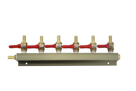 "The Weekend Brewer 6-Way 5/16"" Barbed CO2 Manifold Distributor - Brew My Beers"