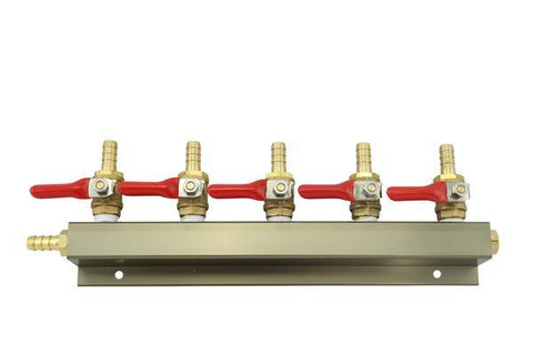 "The Weekend Brewer 5-Way 5/16"" Barbed CO2 Manifold Distributor - Brew My Beers"