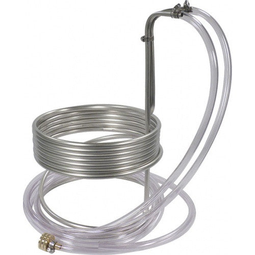 "Stainless Steel Wort Chiller (25' x 3/8"" with Tubing) - Brew My Beers"