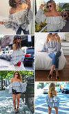Sweet Blue Striped Ruffle Blouse