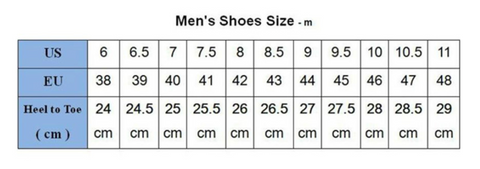 Front Lace-Up Leather Ankle Boots Men Casual High Top Shoes - Size Chart