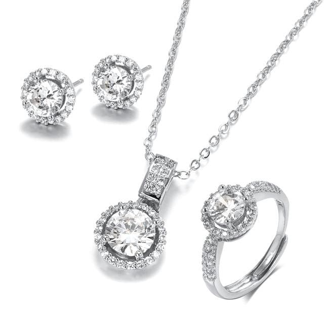 18K Gold Zircon Jewelry Sets Silver Color / Resizable JEWELRY SETS
