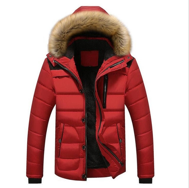 Male Parkas Casual Thick Outwear Hooded Fleece Jackets