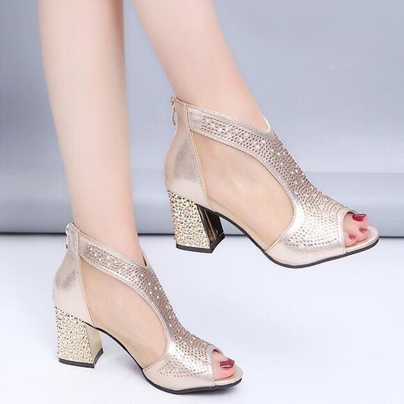 7cm High Diamond Summer Square Heel Gold / 5 HIGH HEELS