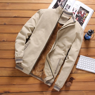 Casual Male Outwear Fleece Thick Warm Windbreaker Jacket