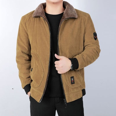Corduroy Cotton Warm Padded Thermal Coats For Men