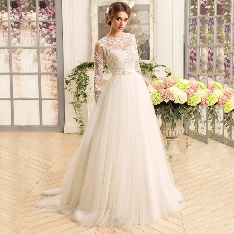 Elegant Long Sleeve O-Neck Wedding Dresses