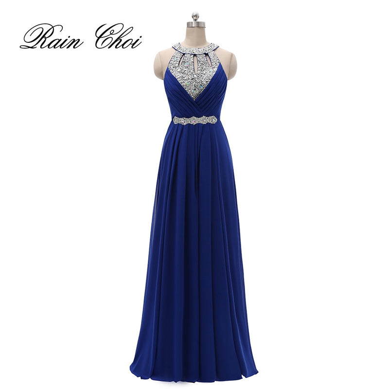 Women Halter Wedding Party Gown Chiffon Long Bridesmaid Dresses