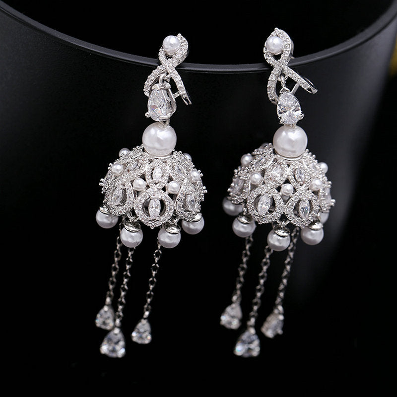 Luxury Cubic Zircon Tassel Campanula Dangle Earrings