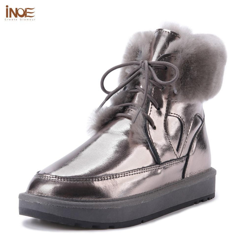 New Style Leather Sheep Fur Lined Women Fashion Ankle Winter Boots