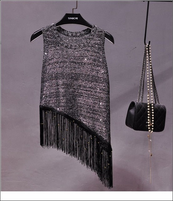 Sequined Fringed Knitted Tank Top
