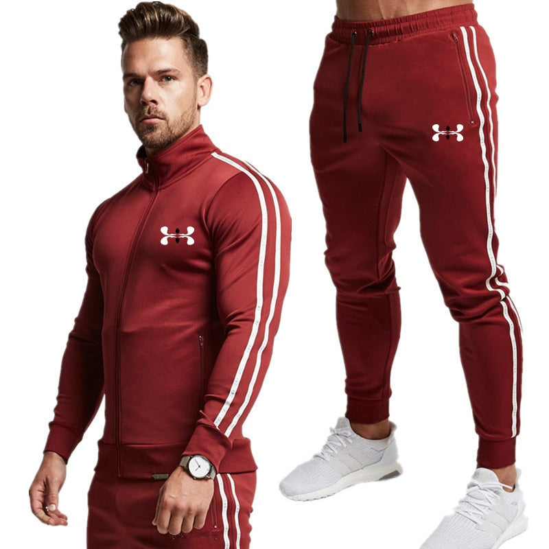 Men Sweatsuit Spring Autumn Male Sporting Suit Jacket Sweatshirt+Pants