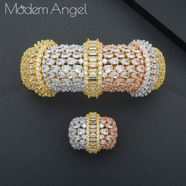 Luxury Big Bamboo Bangle Ring Set For Women
