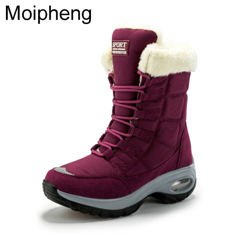 Moipheng Waterproof Women Boots Winter Keep Warm Quality Mid-Calf Snow Boots