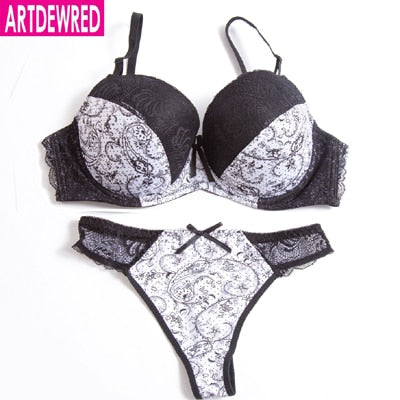 High Quality Push Up Bra Thong Sets bras for women underwear bra set lace sexy lingerie panty female underwear