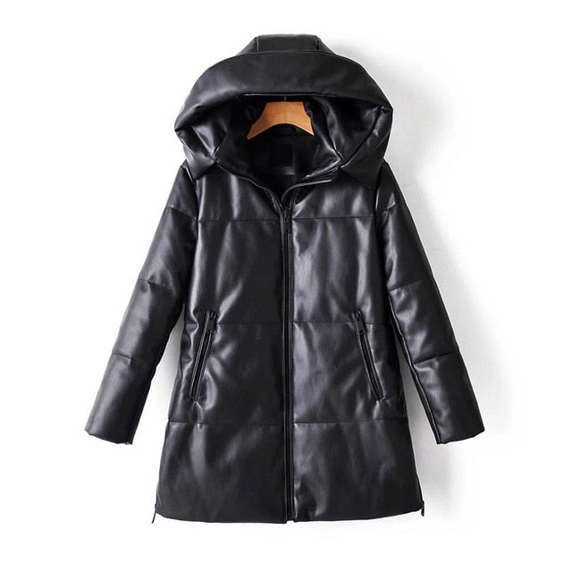Wixra Solid PU Waterproof Leather Cotton Jacket Hooded for Women
