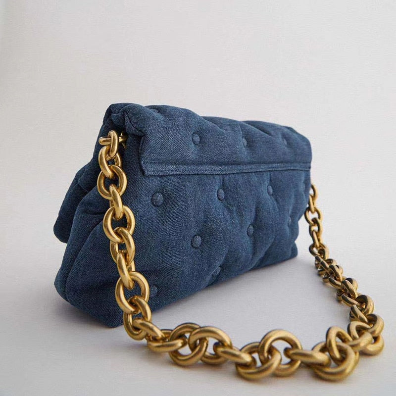 Denim Quailty Thick Metal Chain Women's Shoulder Bags