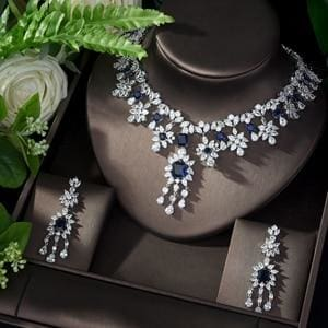 AAA Cubic Zirconia Elegant Jewelry Sets blue JEWELRY SETS