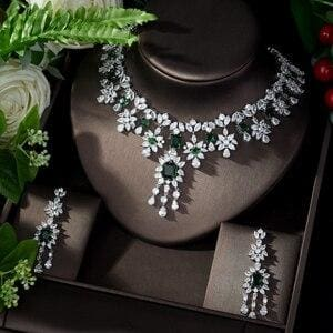 AAA Cubic Zirconia Elegant Jewelry Sets green JEWELRY SETS