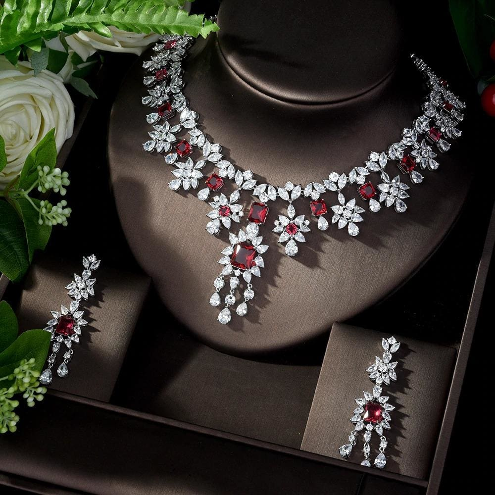 AAA Cubic Zirconia Elegant Jewelry Sets red JEWELRY SETS