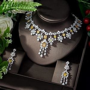 AAA Cubic Zirconia Elegant Jewelry Sets yellow JEWELRY SETS