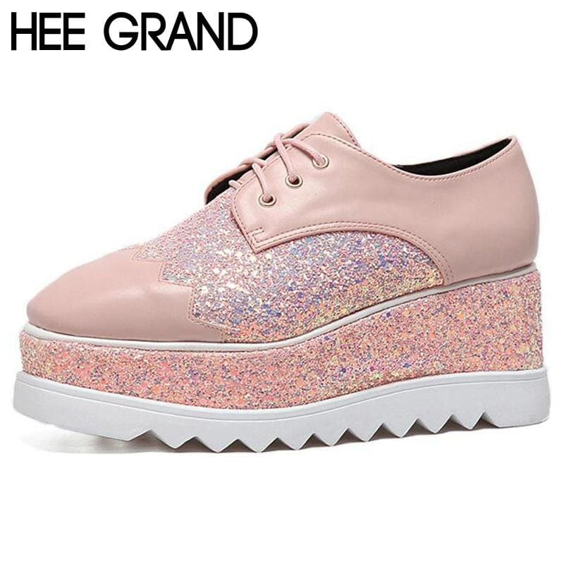 Bling Bling Creepers Thick Bottom Leather Shoes-HIGH HEELS-US MART NEW YORK