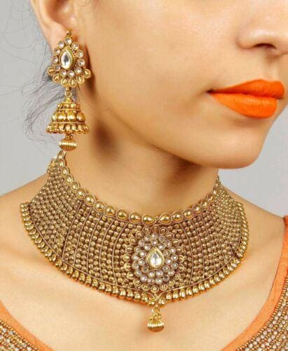 Bollywood Style Wedding Gold Plated Bridal Jewelry Set