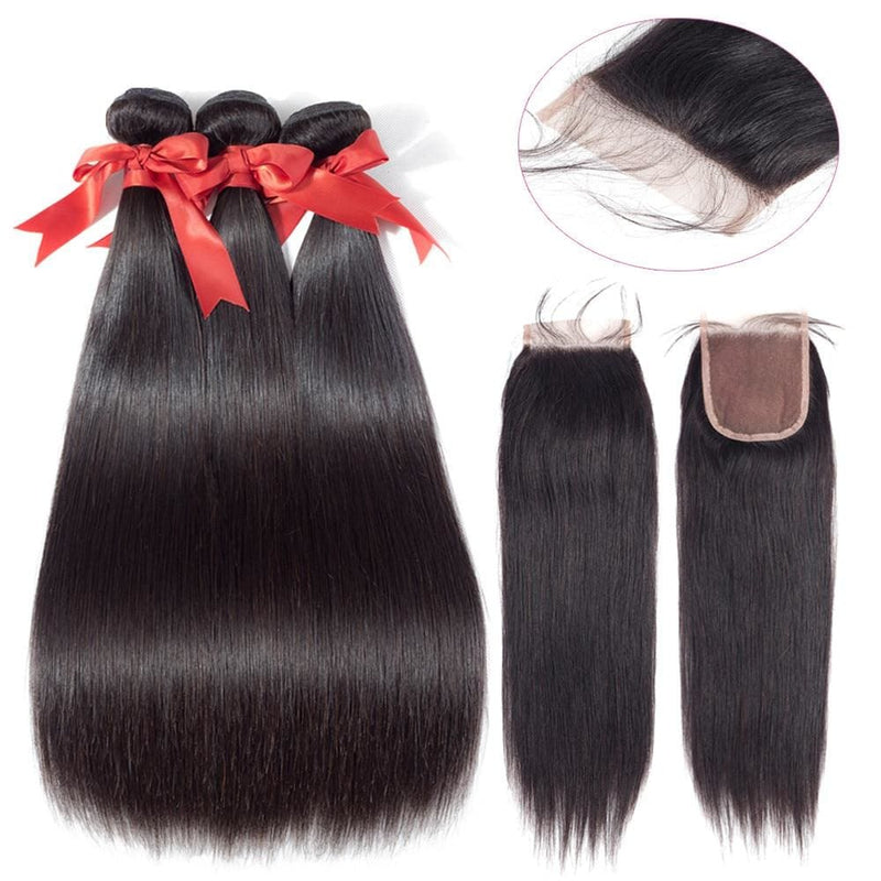 Brazilian Straight Human Hair Bundle with Closure-HAIR EXTENSIONS-US MART NEW YORK