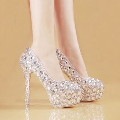 Cinderella Crystal Glittering Round Toe Bridal Shoes 14-15cm heel / 34 HIGH HEELS