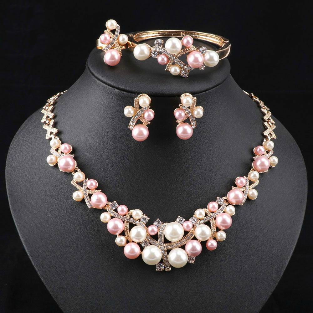 Crystal Colorful Pearl Necklace Jewelry Set JEWELRY SETS