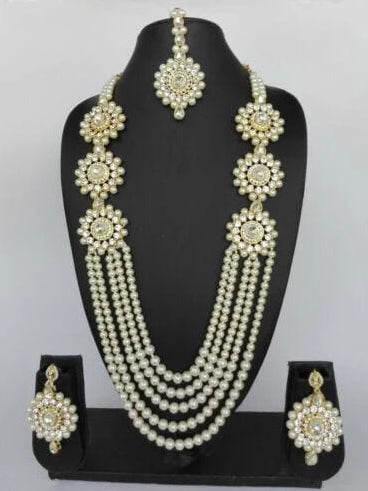 CRYSTAL PEARL BOLLYWOOD NECKLACE SET-JEWELRY SETS-US MART NEW YORK
