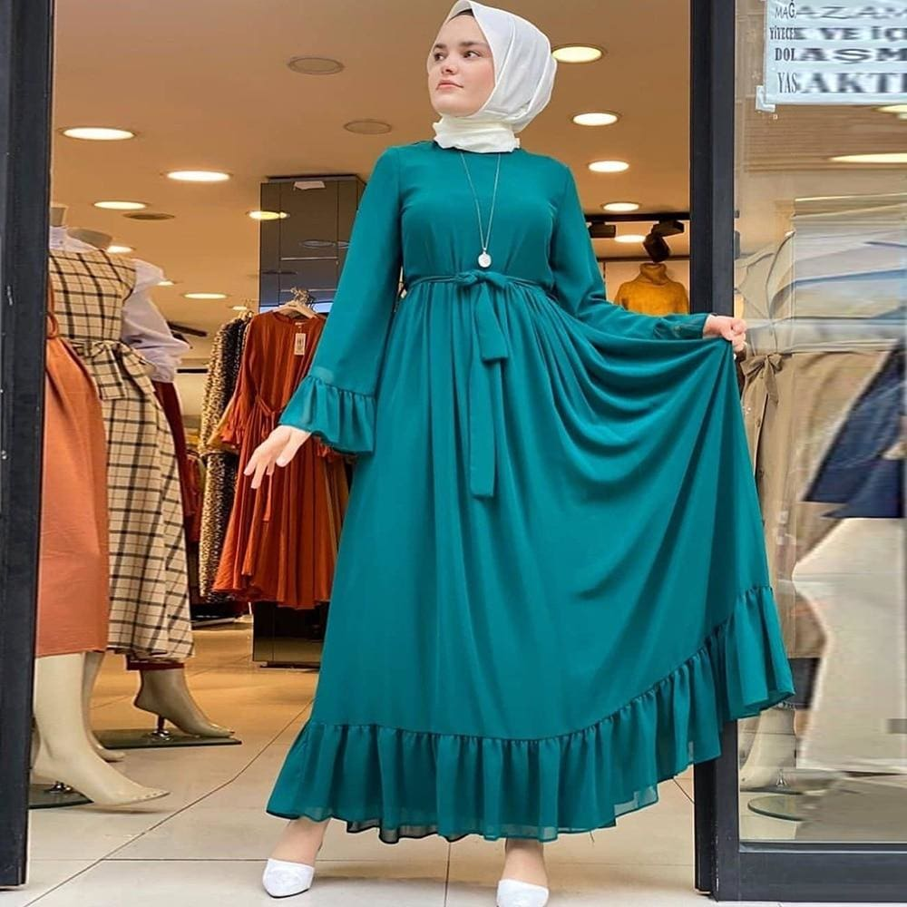 Elegant Bell Sleeve Chiffon Long Dress HIJAB & BURKA