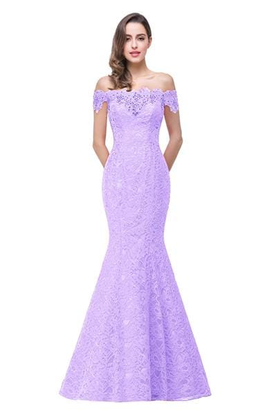 Elegant Crystal Beaded Mermaid Long Evening Dresses Lavendar / 2 Dresses