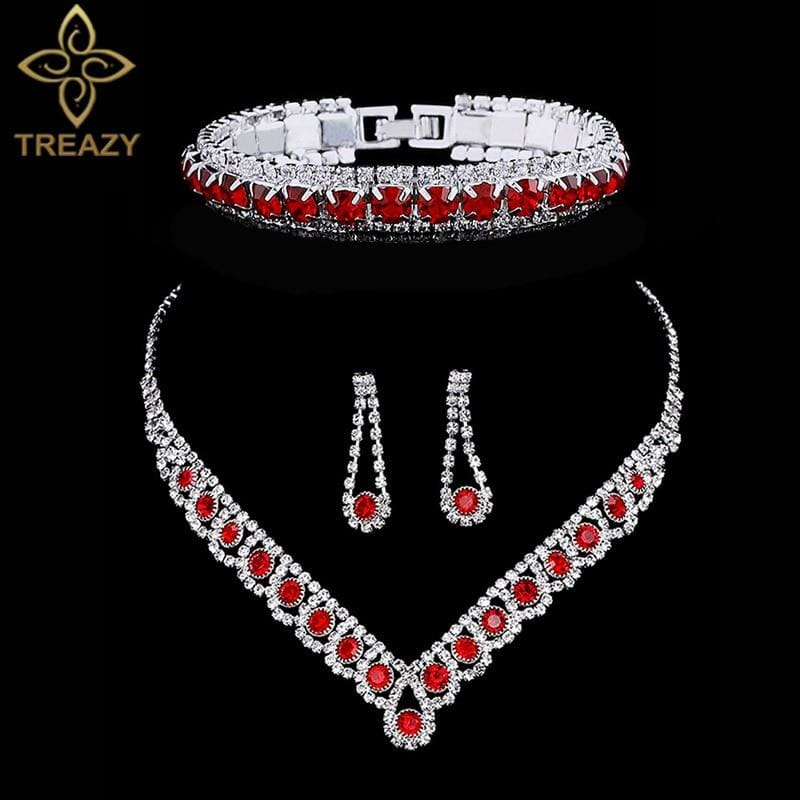 Elegant Crystal Rhinestone Wedding Jewelry Sets-JEWELRY SETS-US MART NEW YORK