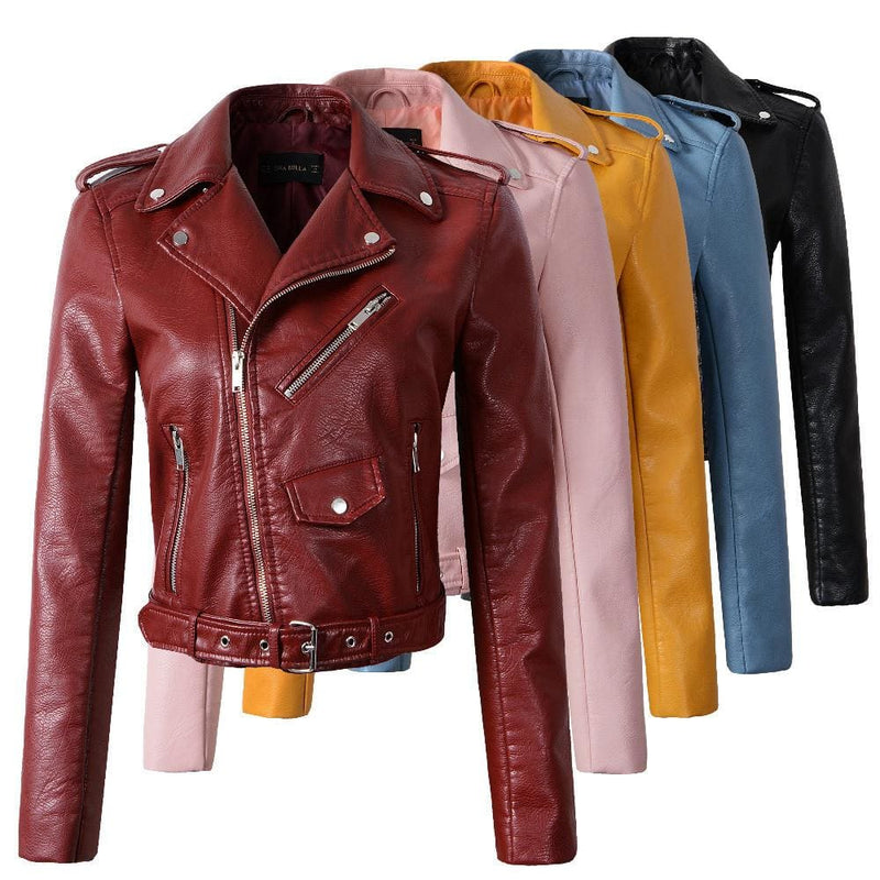 2017 New Fashion Women Wine Red Faux Leather Jackets Lady Bomber Motorcycle Cool Outerwear Coat with Belt Hot Sale-LEATHER JACKETS-US MART NEW YORK