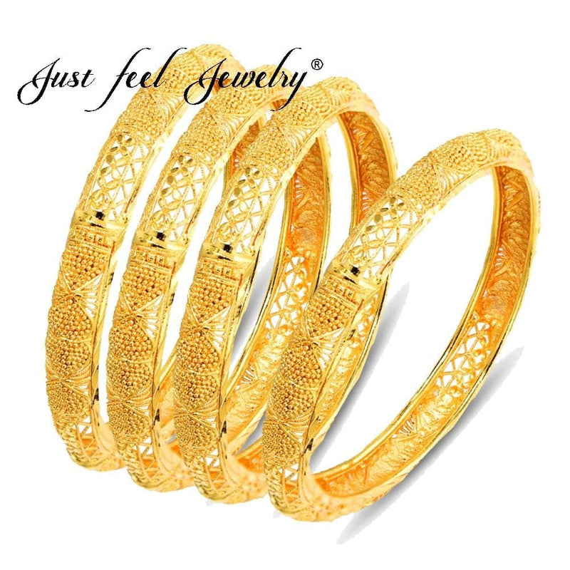 Ethiopian Brass Bangle 6.3cm/2.5 inch Gold Color, 4Pcs/Lot-Bracelets-US MART NEW YORK