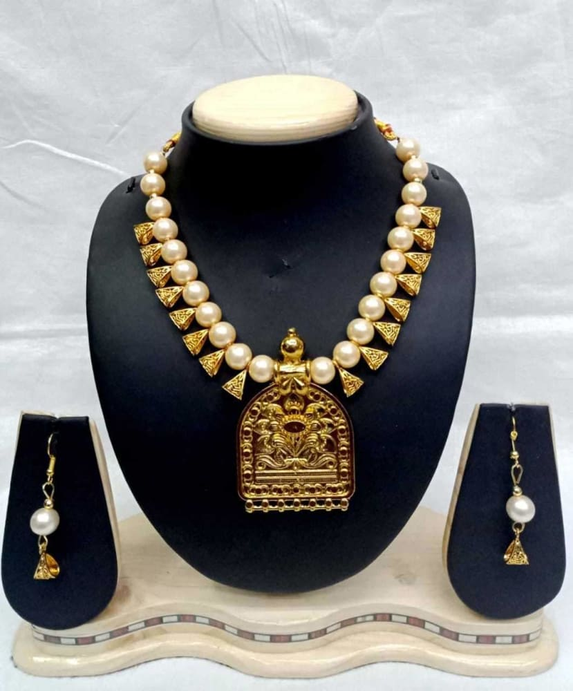 Ethnic Fashion Polki Beads Jewelry Indian Bollywood Gold Plated Necklace Set JEWELRY SETS