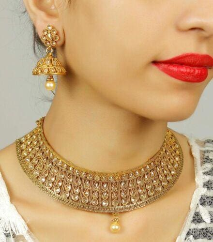 Gold Plated Bollywood Wedding Bridal Jewelry Set-JEWELRY SETS-US MART NEW YORK