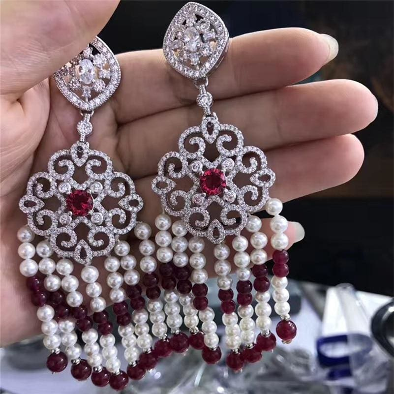 Handmade Luxury CZ Zircon Connector Pearl Beaded Dangle Tassel Earrings