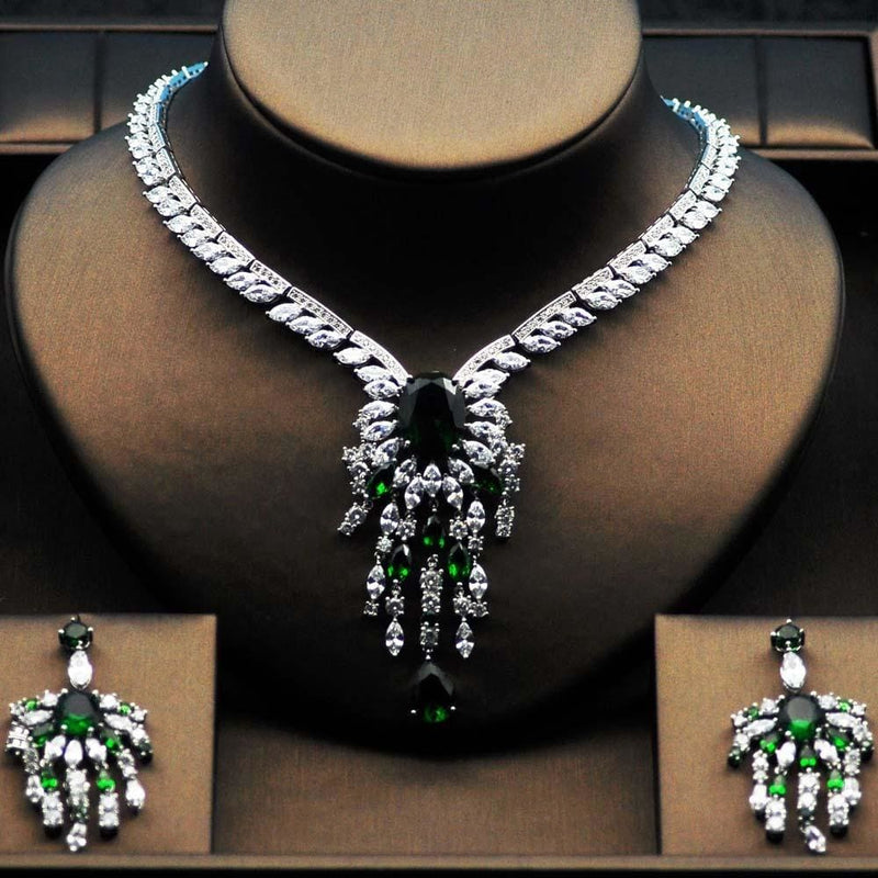 High Quality Big Flower Shape Women Bridal Jewelry Set Platinum plated Green / 45cm JEWELRY SETS