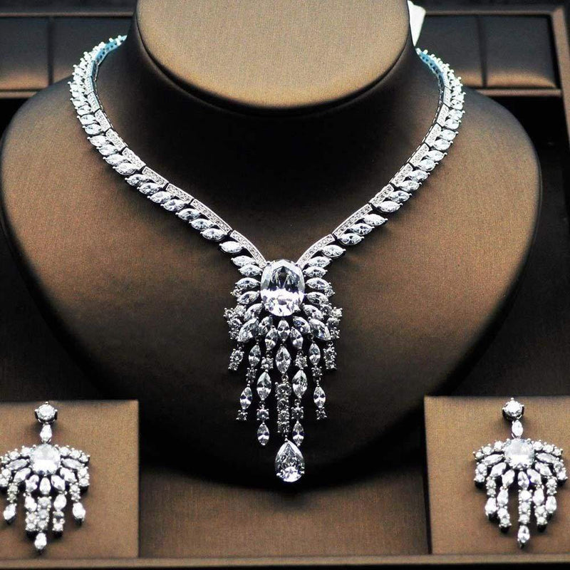 High Quality Big Flower Shape Women Bridal Jewelry Set Platinum plated Silver / 45cm JEWELRY SETS
