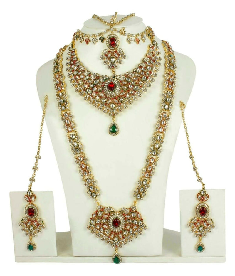 Indian Bollywood Bridal Jewelry Set Wedding Maroon Green Necklace Earr