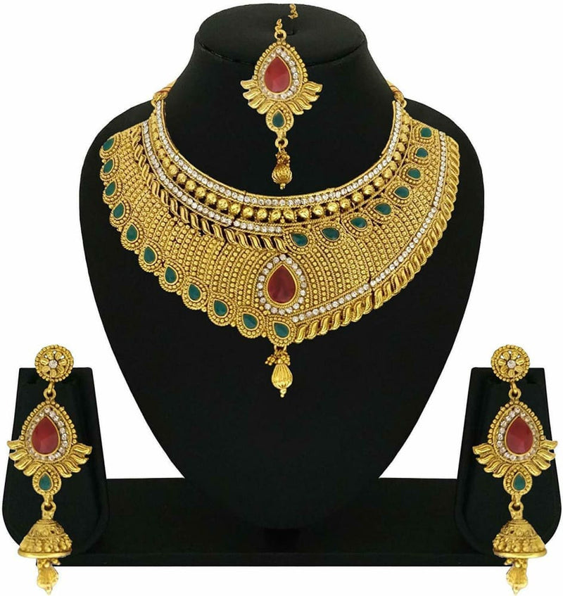 Indian Bollywood Design Gold Plated Bridal Rani Necklace Earring Kundan Jewelry-JEWELRY SETS-US MART NEW YORK