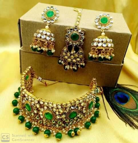 Indian Bollywood Kundan CZ White Bridal Wedding Choker Necklace Jewelry-JEWELRY SETS-US MART NEW YORK