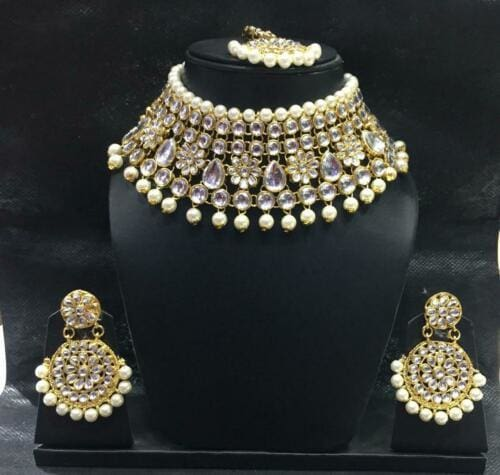 Indian Bollywood Traditional Bridal Pearls Wedding Kundan Fashion Jewelry Set-JEWELRY SETS-US MART NEW YORK