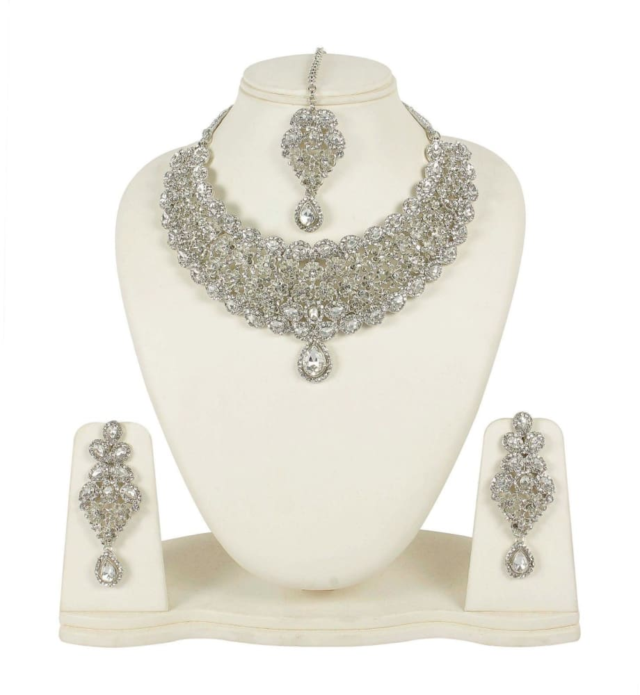 INDIAN FASHION RODIUM WHITE WEDDING BRIDAL JEWELRY NECKLACE SET JEWELRY SETS